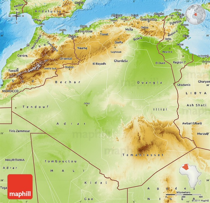 Physical map of Algeria.